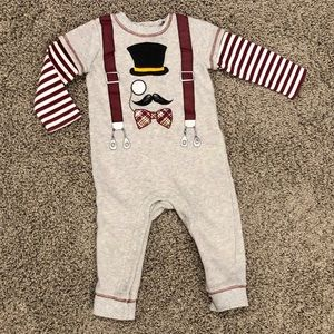 Boys onesie sweatsuit with striped sleeves